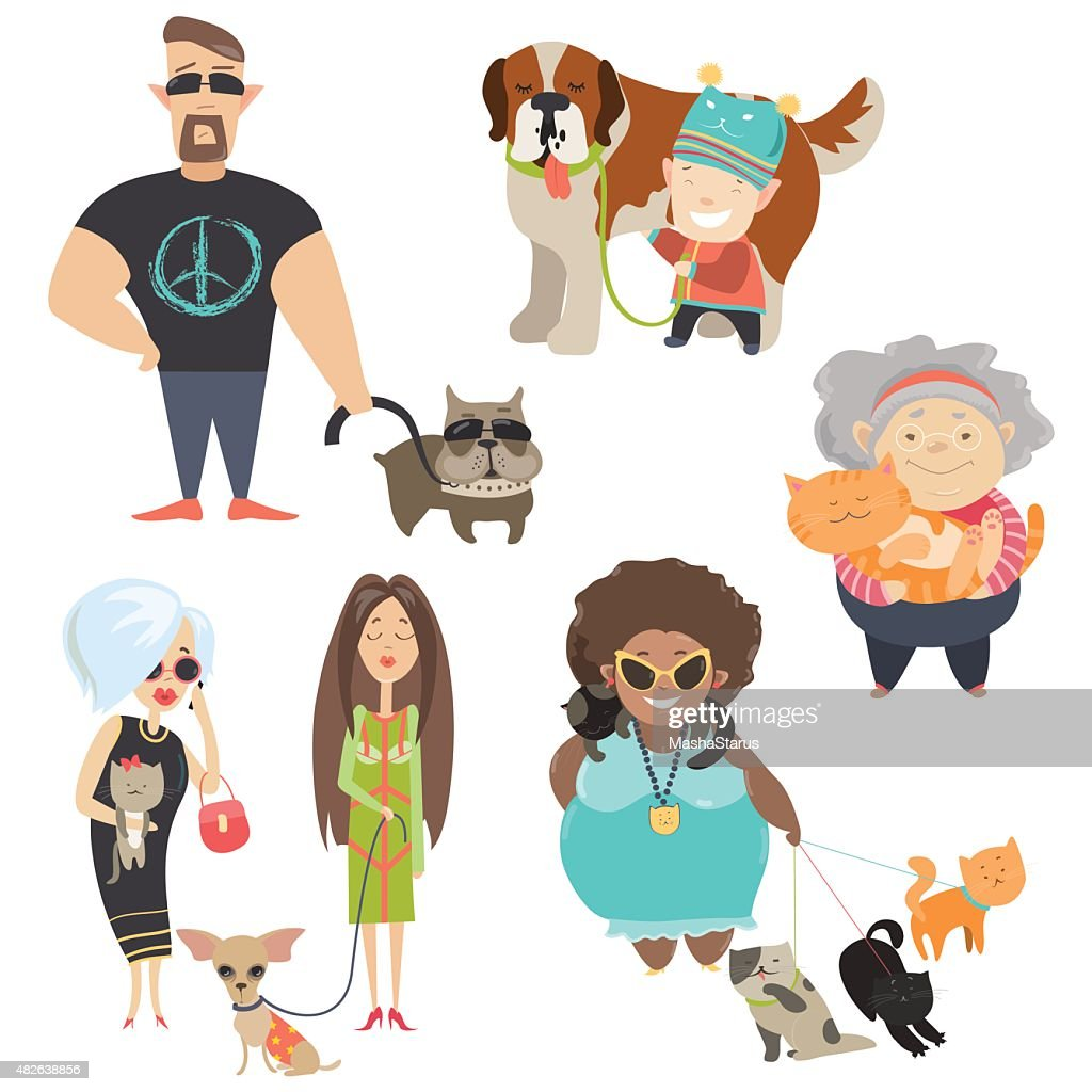 Cute pets with their owners