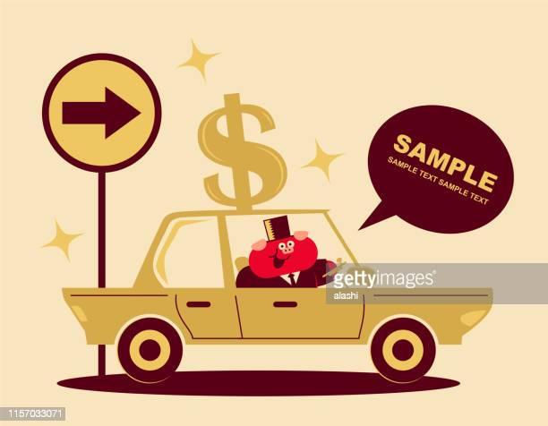 ilustraciones, imágenes clip art, dibujos animados e iconos de stock de lindo cerdo hombre de negocios conduciendo un coche con signo de dólar - taxista