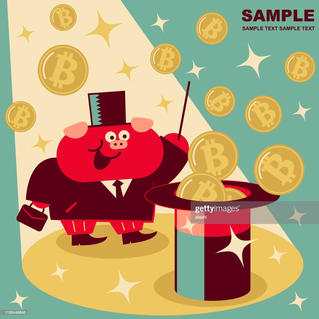 Cute pig businessman waving the magic wand and cryptocurrency bitcoin money flying out of the magic hat