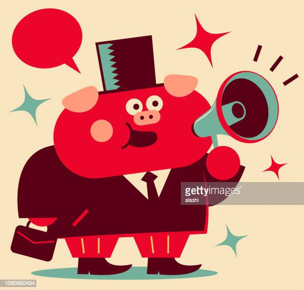 cute pig businessman with megaphone and briefcase greeting, year of the pig - year of the pig stock illustrations