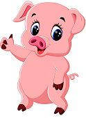 Cute pig cartoon posing