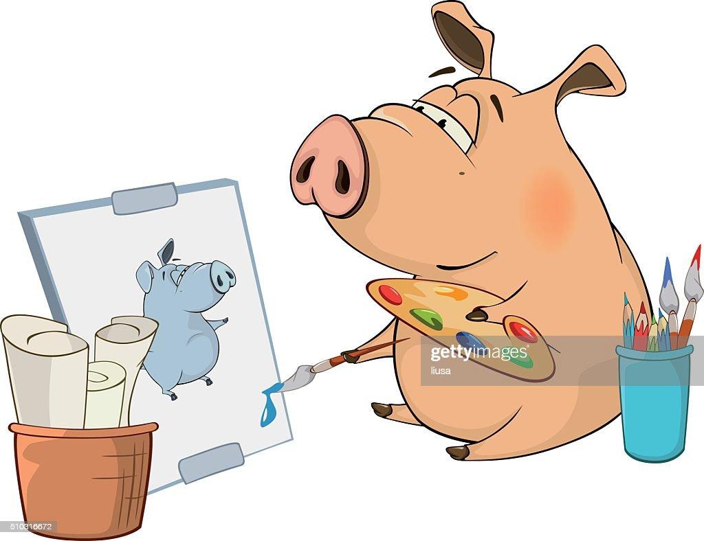 cute pig farm animal cartoon