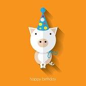 Cute pig flat design birthday card