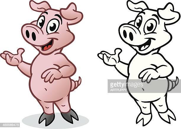 illustrations, cliparts, dessins animés et icônes de mignon de porc présentation - boucherie