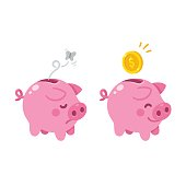 cute piggy bank illustration