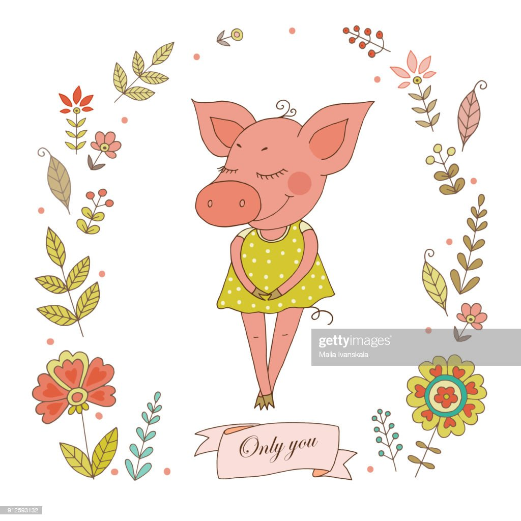 Cute piggy with vintage frame for your design in doodle style