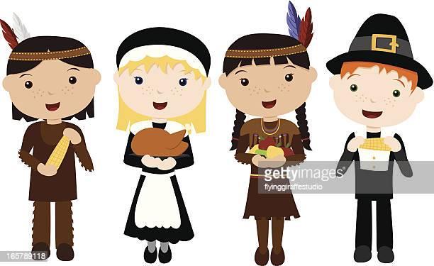 cute pilgrims and indians - pilgrim stock illustrations, clip art, cartoons, & icons