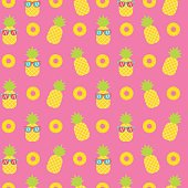 cute pineapple seamless pattern background