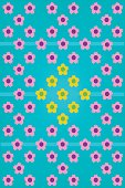 Cute pink and yellow flower on blue background line and pattern