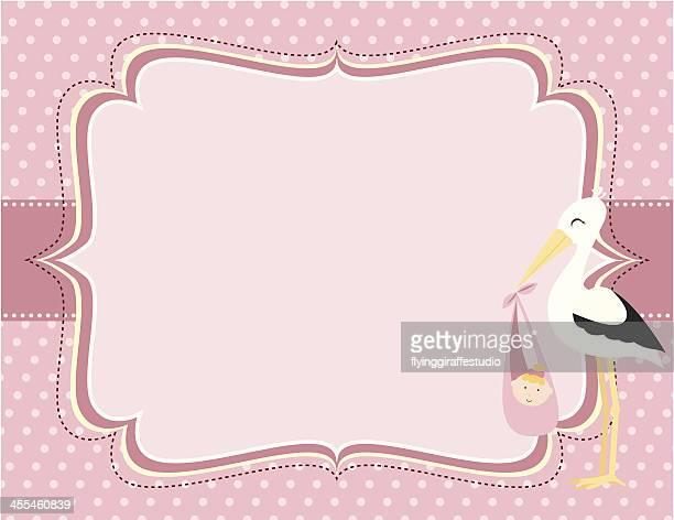 ilustrações de stock, clip art, desenhos animados e ícones de um lindo rosa bebê menina cartões de cegonha - chadebebe