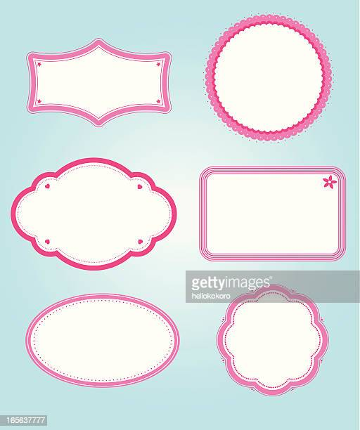 niedliche rosa grenzen - oval stock-grafiken, -clipart, -cartoons und -symbole