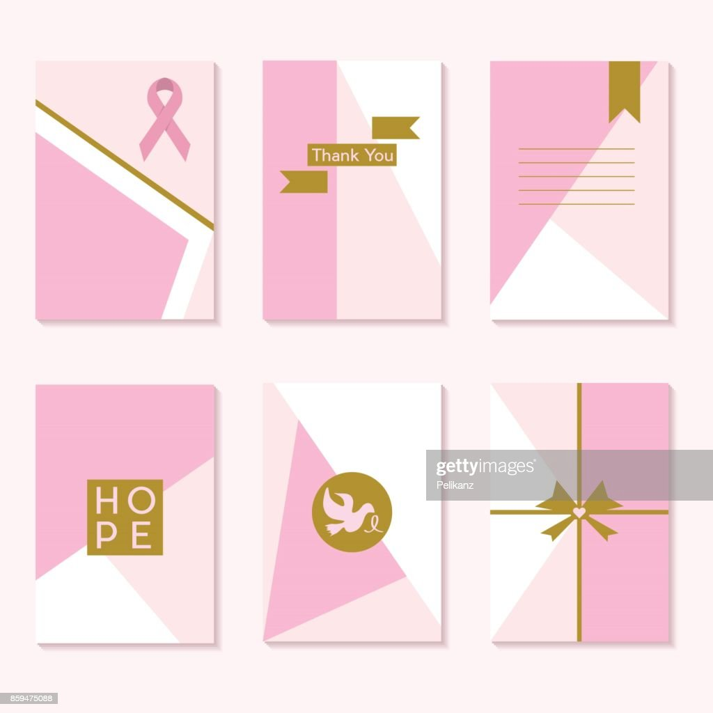 Cute pink Cancer Awareness trendy backgrounds template cards set with golden labels and emblems design elements