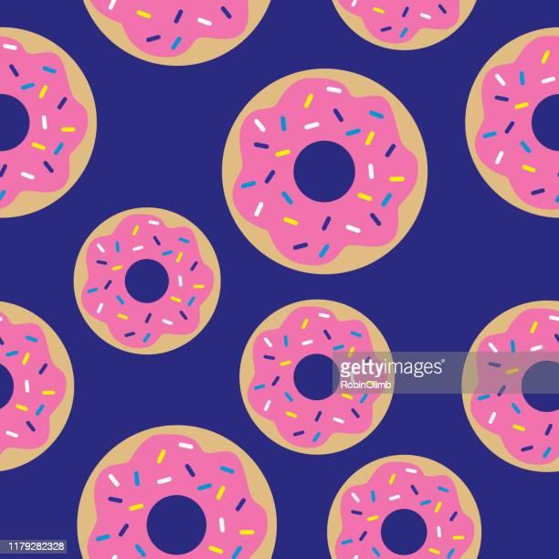 ilustrações, clipart, desenhos animados e ícones de teste padrão sem emenda dos donuts cor-de-rosa bonito - donut