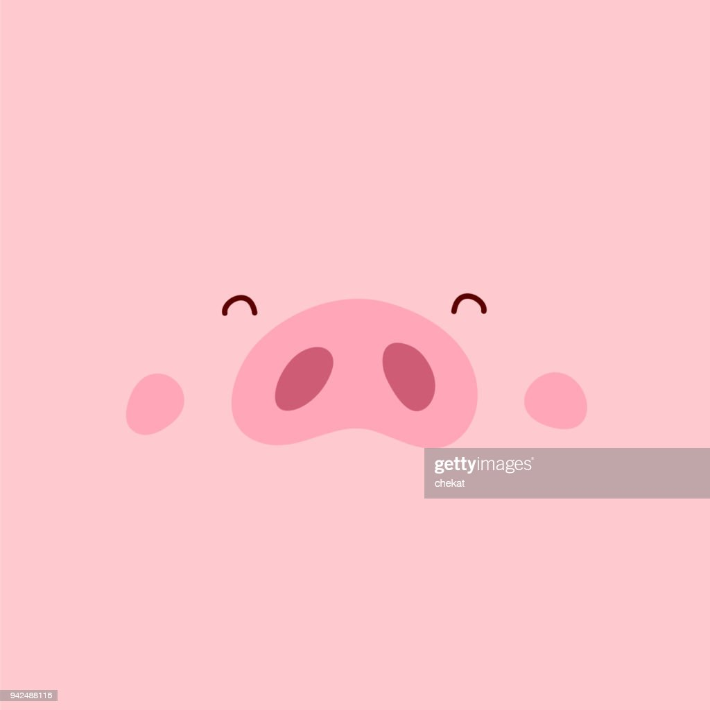 Cute pink pig. Happy New Year.