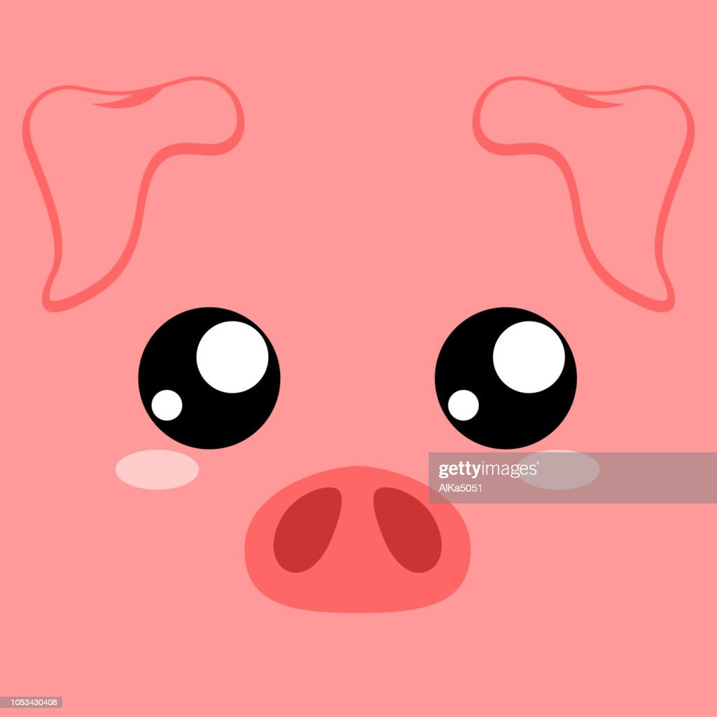 Cute pink piggy. Pig head. Symbol of Chinese New Year 2019