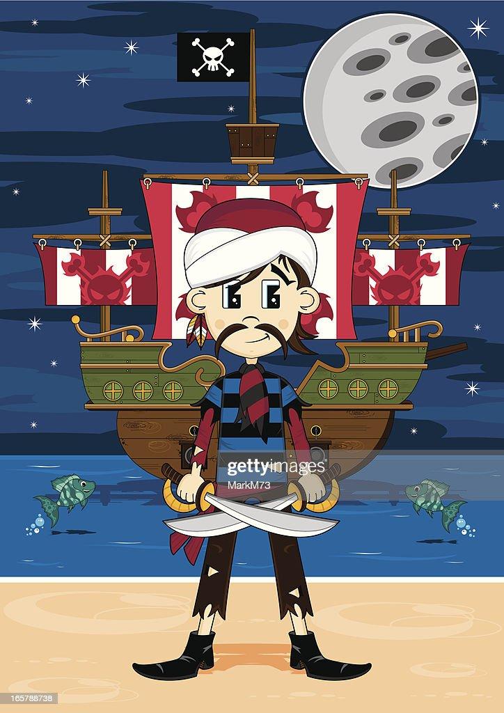 Cute Pirate and Ship Beach Scene : stock illustration
