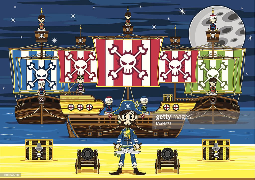 Cute Pirate Captain and Ship Beach Scene : stock illustration