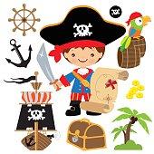 Cute pirate captain vector illustration