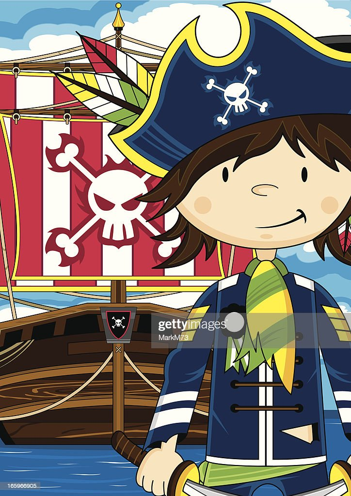 Cute Pirate Captain with Ship : stock illustration