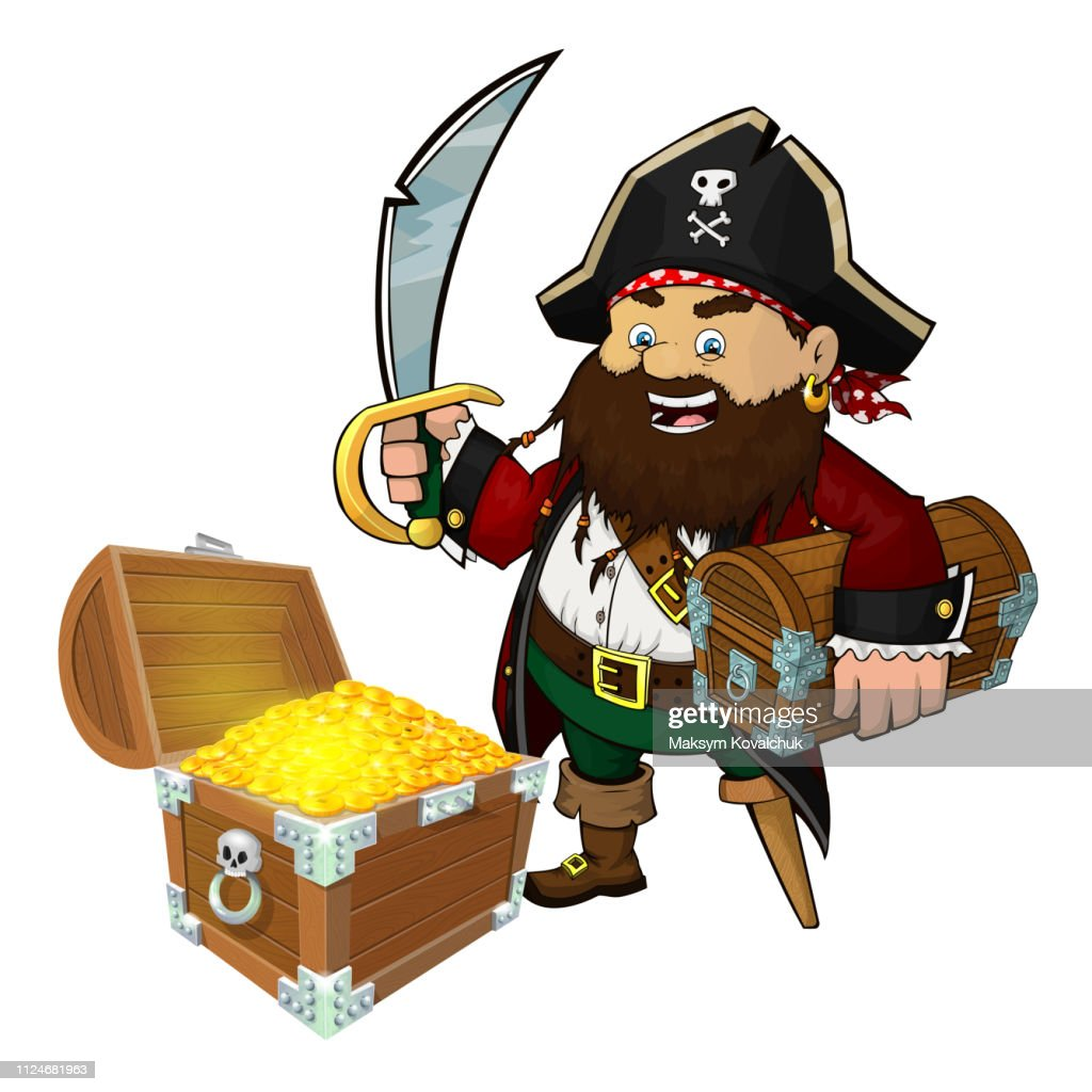 Cute pirate with a sword and treasure chest isolated on a white background. Eps 10