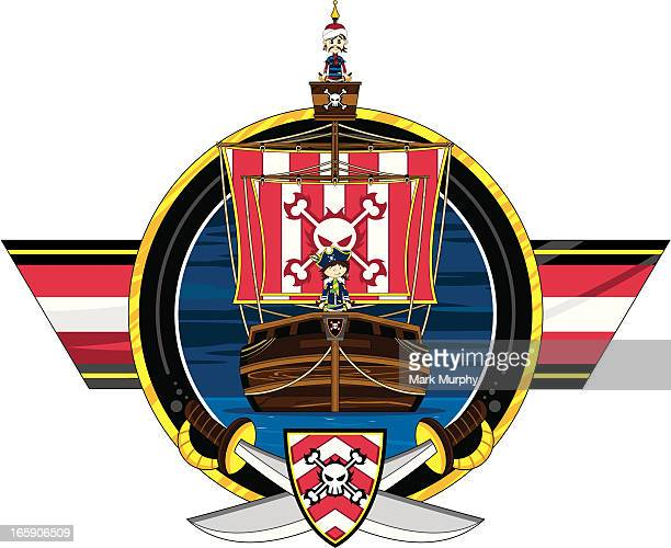 Cute Pirates and Ship Badge