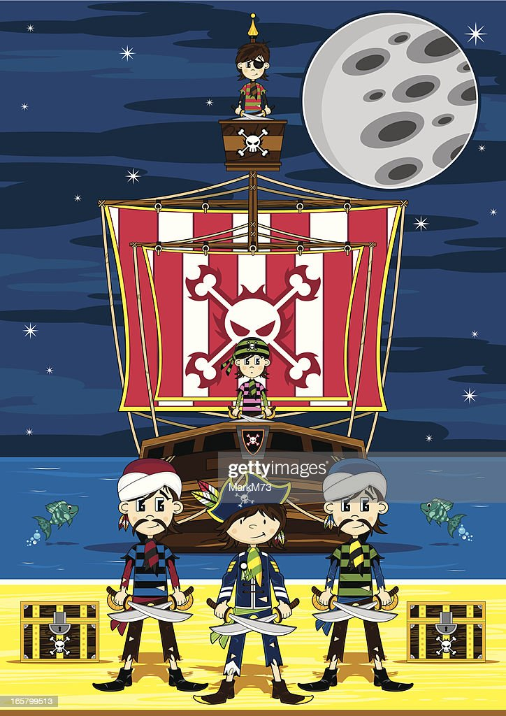 Cute Pirates and Ship Beach Scene : stock illustration