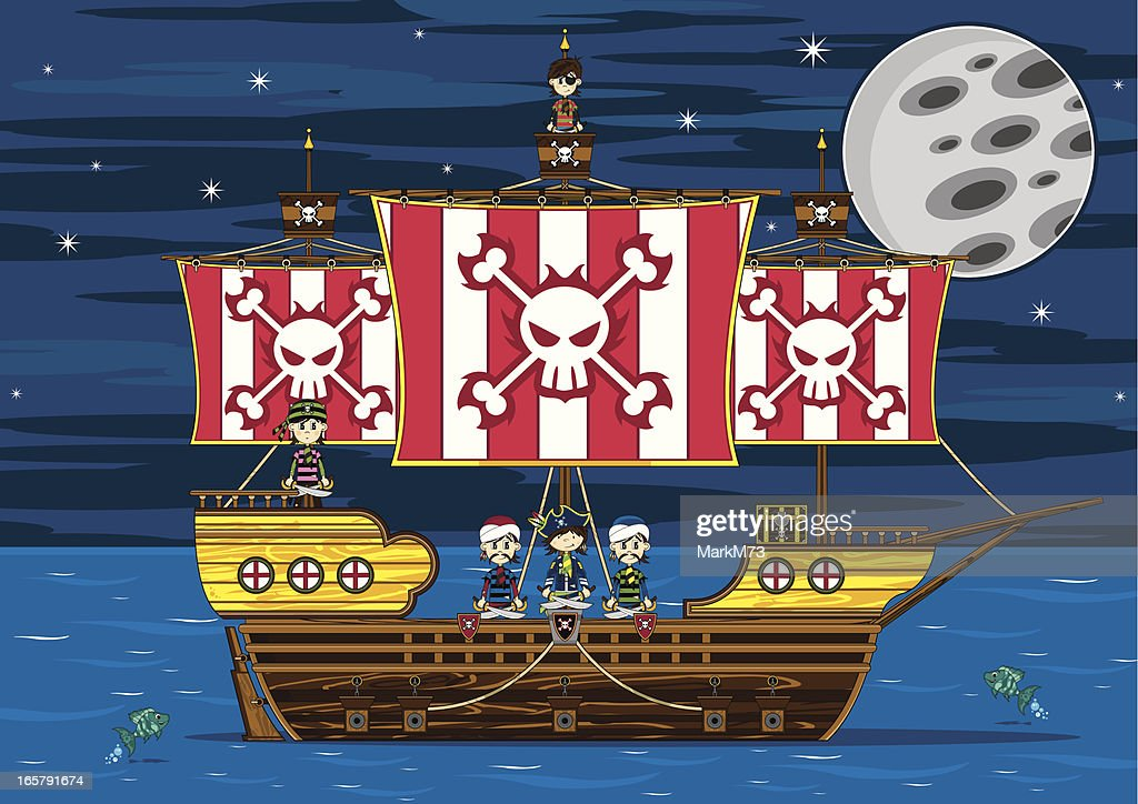 Cute Pirates on Ship : stock illustration