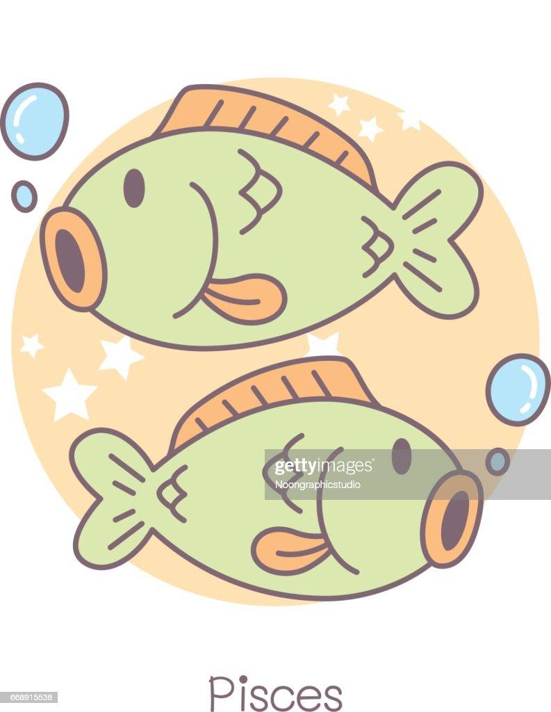 Cute Pisces Symbol Cartoon Vector Art