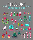 Cute pixel art christmas set for design