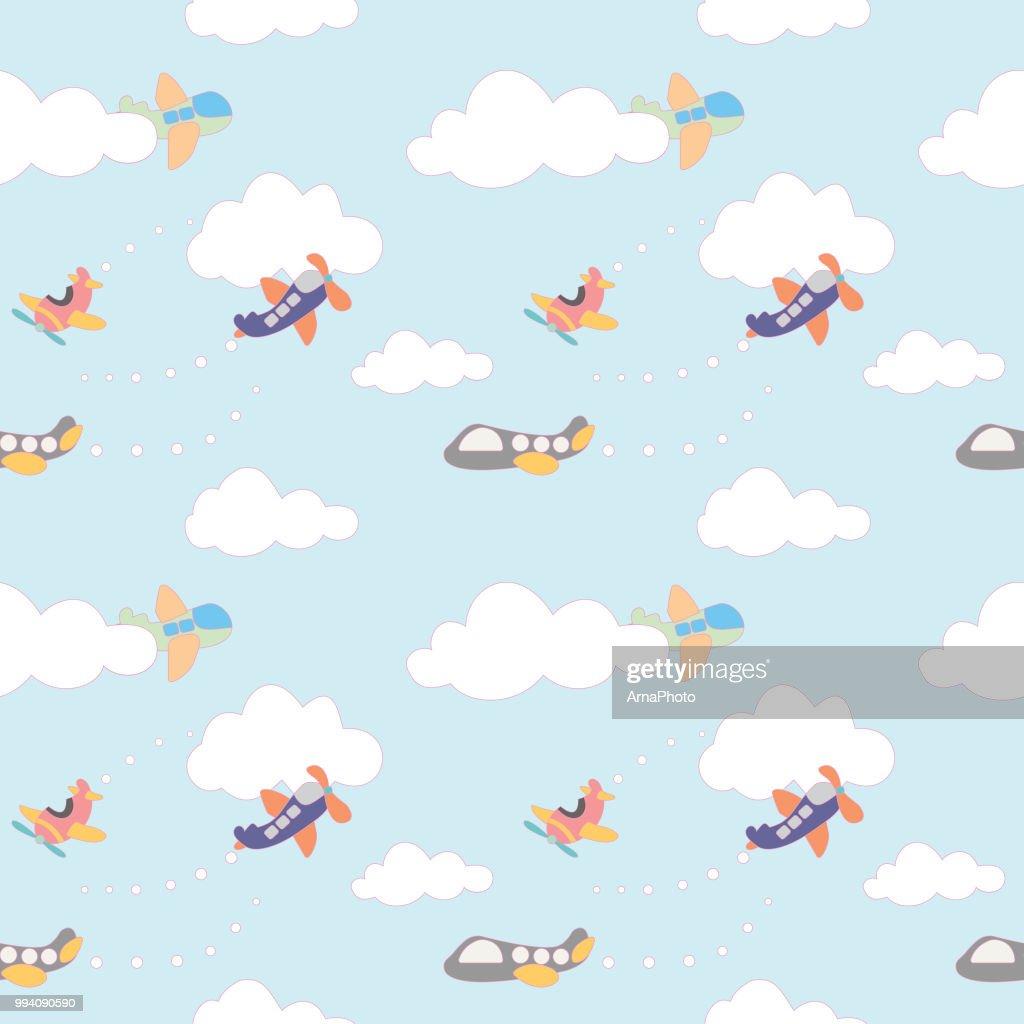 Cute planes seamless pattern. Vector illustration.