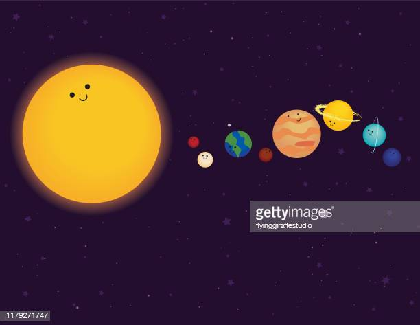cute planets - solar system stock illustrations