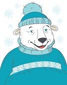 Cute polar bear wearing sweater portrait