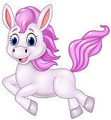 Cute pony horse running isolated on white background