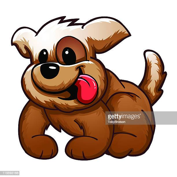 cute 'pooch' puppy - sticking out tongue stock illustrations, clip art, cartoons, & icons