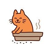Cute pooping cat