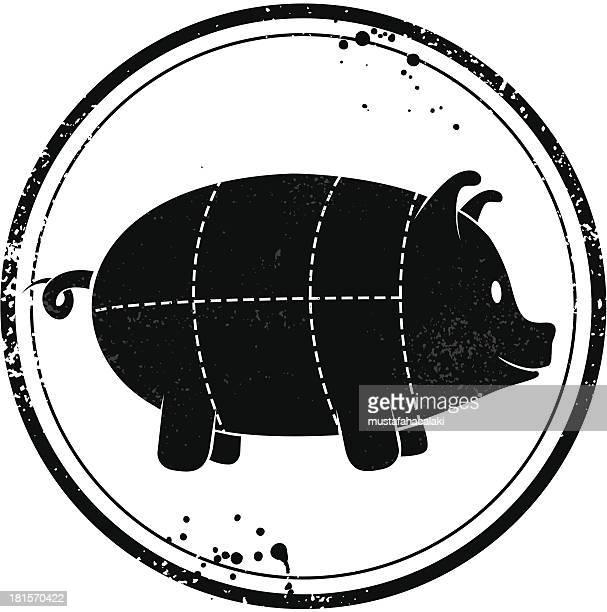 illustrations, cliparts, dessins animés et icônes de timbre d'un mignon de porc - boucherie