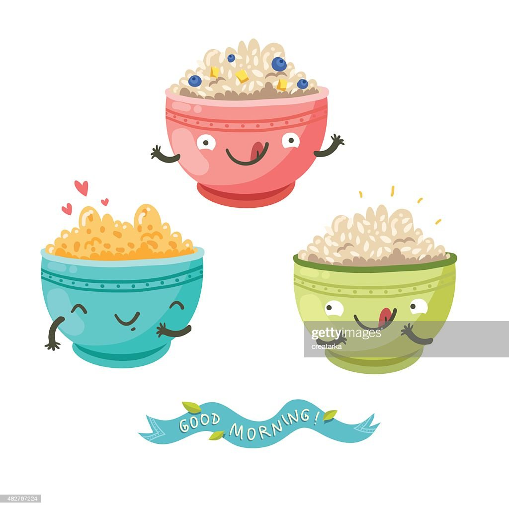 Cute porridge characters and 'Good morning!' ribbon