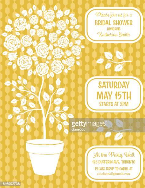 Cute Potted Rose Tree Invitation Template
