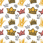 Cute princess birthday vector seamless pattern with pink and gold crowns