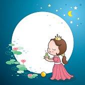Cute princess kiss frog fairy tale