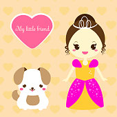 Cute princess with dog pet. Girl in pink dress and puppy. Vector illustration in kawaii style