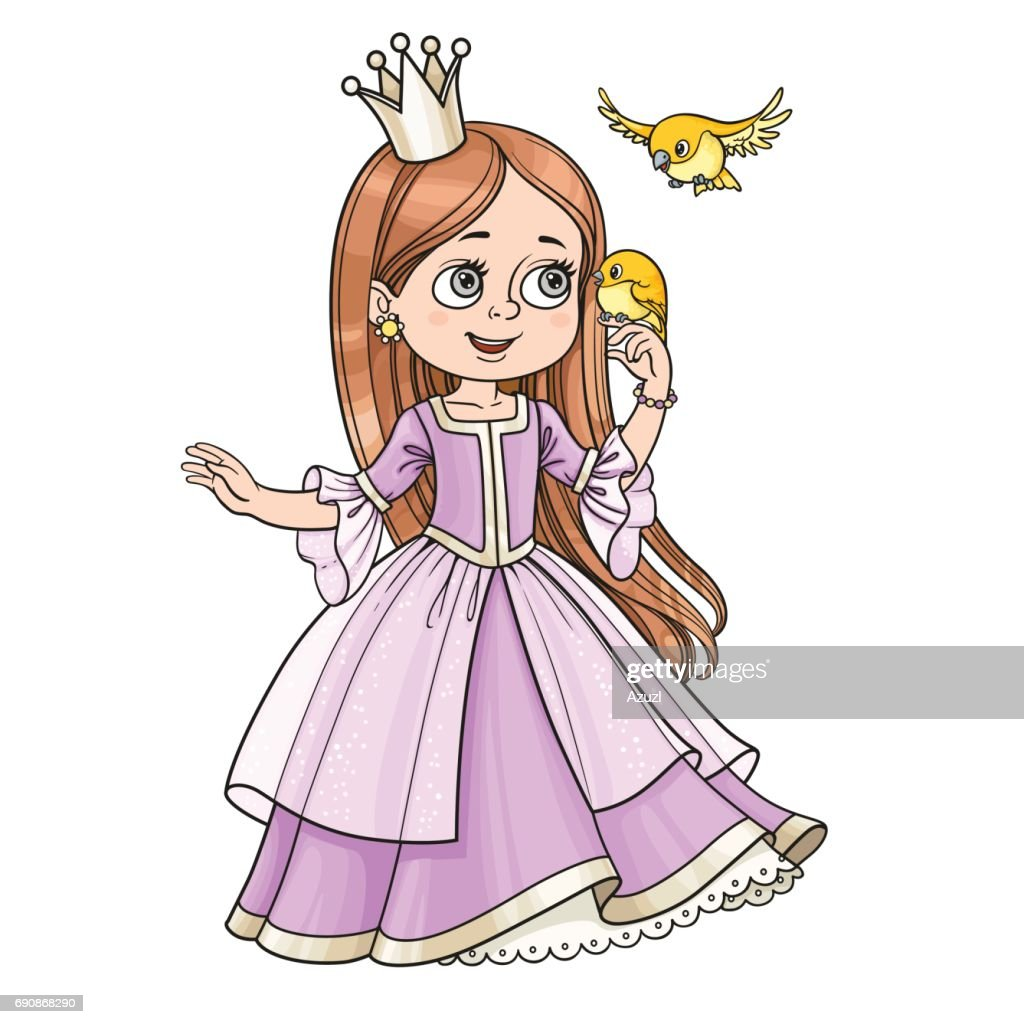 Cute princess with long hair holds on finger little bird isolate