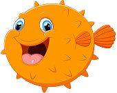 Cute puffer fish cartoon