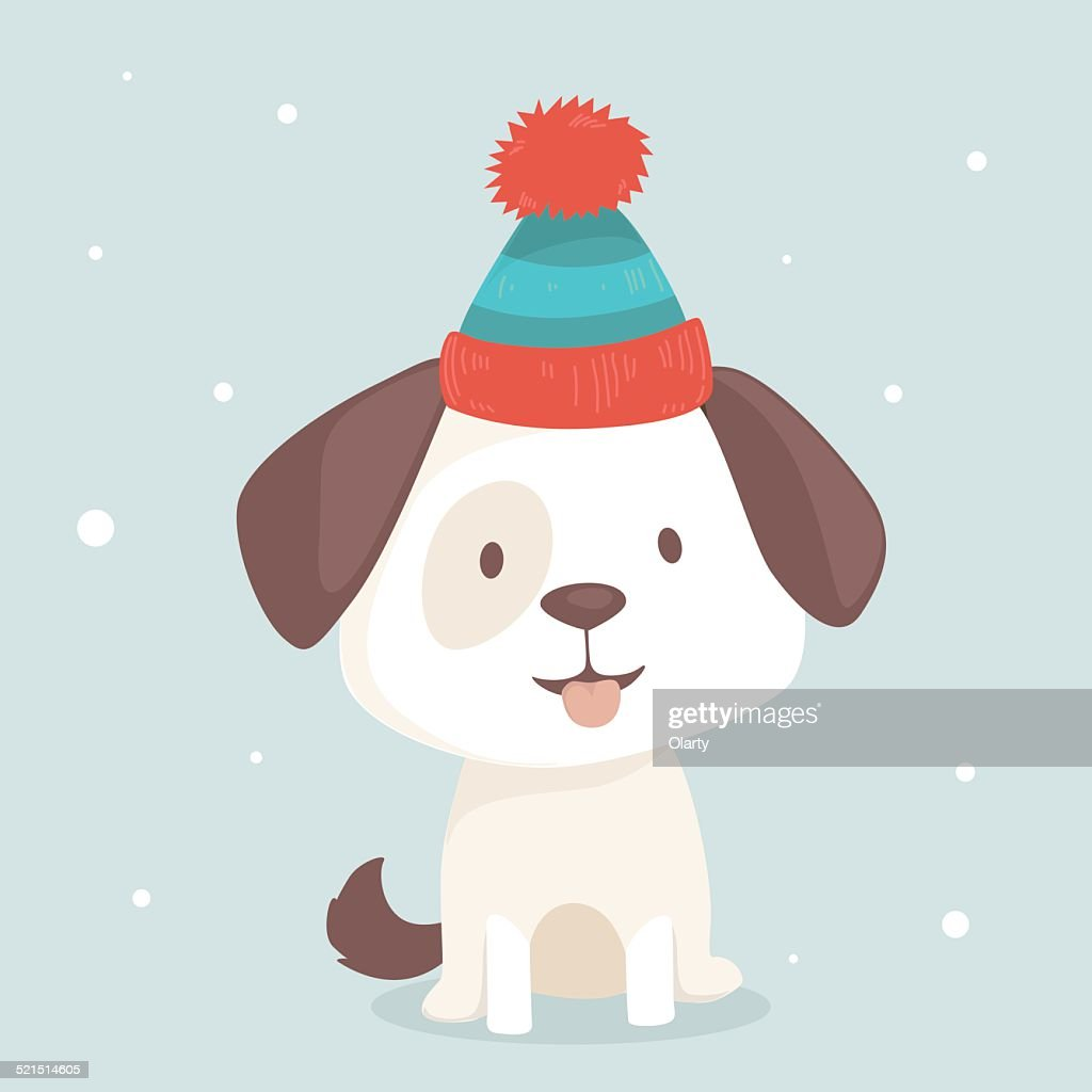 Cute puppy sits in winter hat