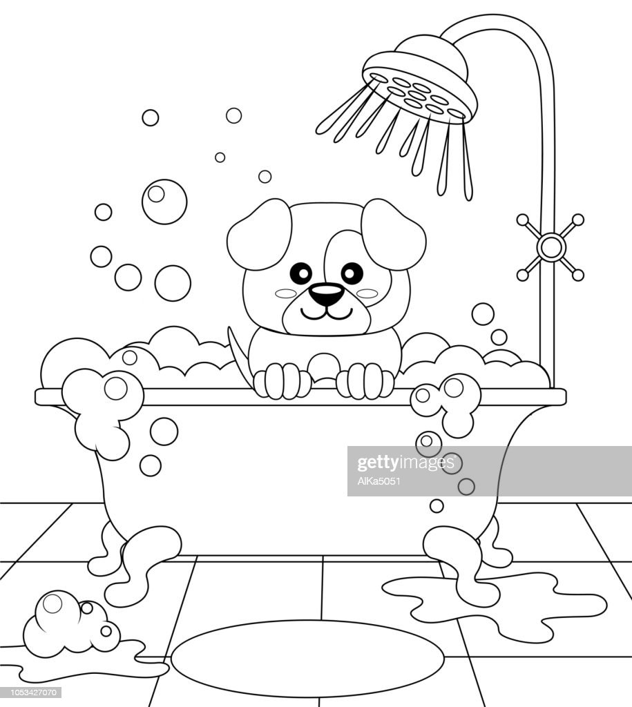 Cute puppy taking bath. Dog grooming. Black and white vector illustration for coloring book
