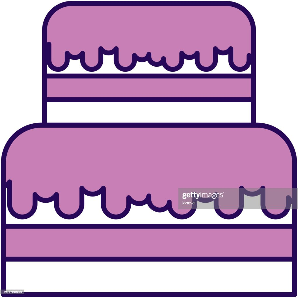Cute Purple Birthday Cake Cartoon Vector Art Getty Images