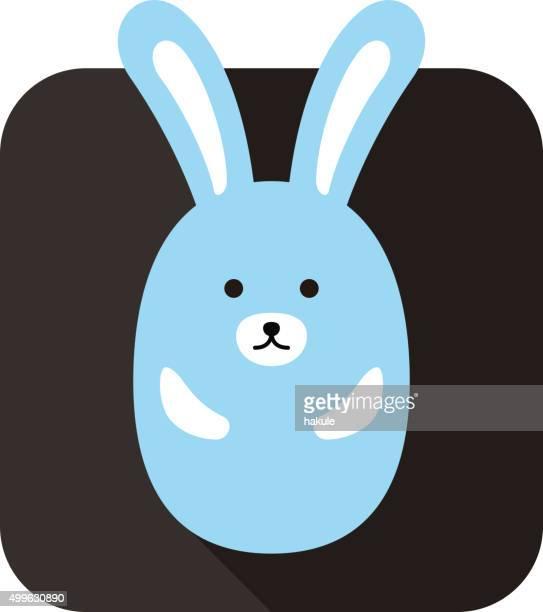 cute rabbit face and body flat design, vector - animal body stock illustrations, clip art, cartoons, & icons