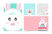 Cute rabbit, Happy Easter card, cover book, greeting poster, banner cartoon character background vector illustration