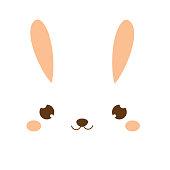 Cute rabbit. Kawaii Bunny. Sweet little Hare. Cartoon animal face for kids, toddlers and babies fashion