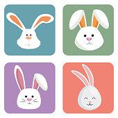 cute rabbits set heads icons